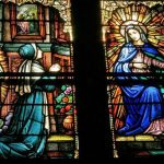 church window in Perryville, MO of Catherine Laboure meeting the Virgin 1830