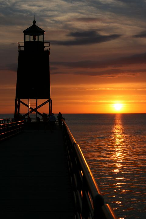 Lighthouse on Lake Michigan at Charlevoix, MI