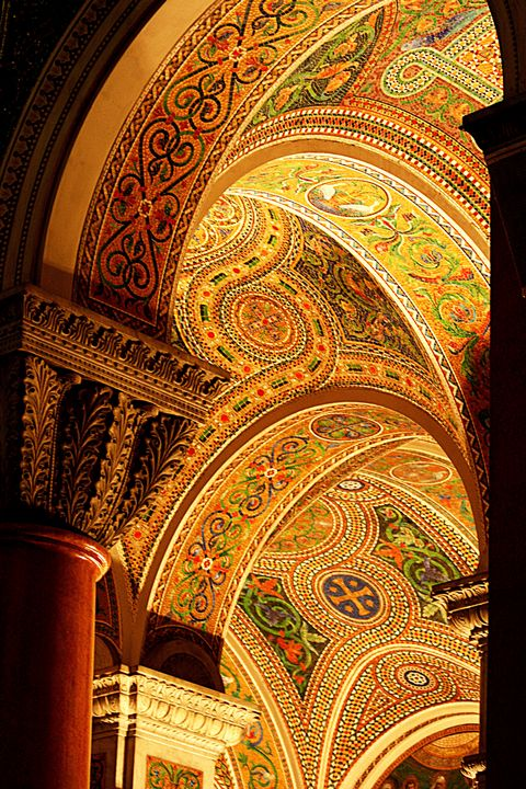 Intricate mosaics inside basilica, St. Louis Cathedral in Missouri