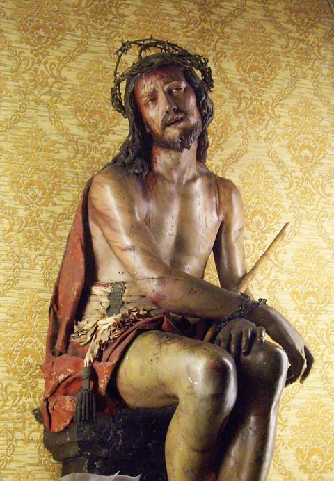 Tortured Jesus: wooden statue in Florence, Italy
