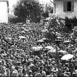 Crowd at Ghiaie di Bonate, Italy 1944 to see a miracle of the sun