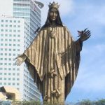 Statue of Mary on location of appearance to crowds in Manila, Philippines, 1986