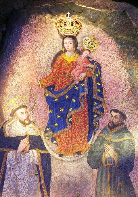 Our Lady of Las Lajas: cave wall image miraculously formed in 1754 from the natural color of the rock changing to this image in Guaitara Canyon, Colombia, South America.