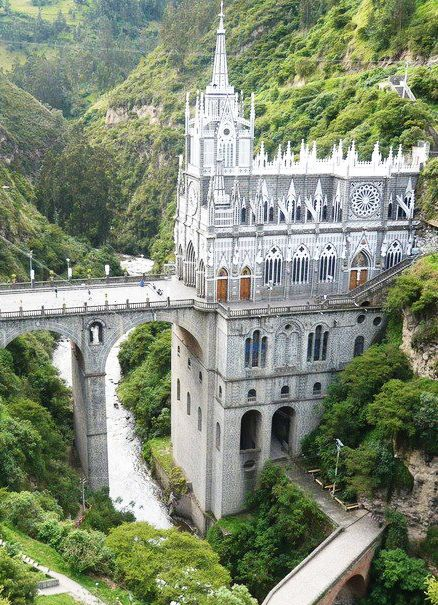 Beautiful church built out from miraculous cave wall image in Guaitara Canyon, Colombia.