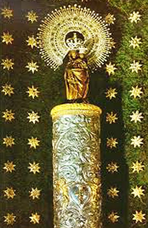 Pillar of jasper left behind by Virgin Mary with St. James in 40 A.D., Zaragoza, Spain.