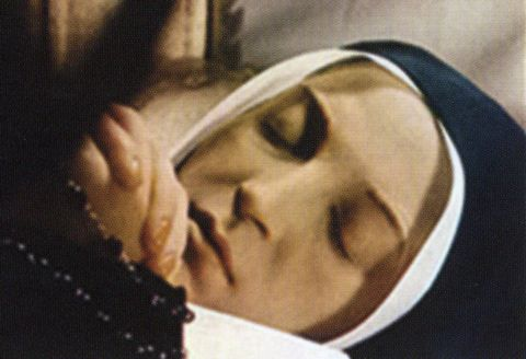 Saint Bernadette Soubirous of Lourdes, France -- today after her death in 1879.  Her body is not preserved by any man-made effort; it will not decay naturally.