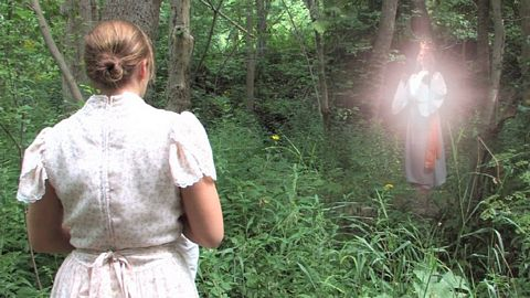 Adele Brice encounters a ghost-like, glowing lady in the woods in 1859.