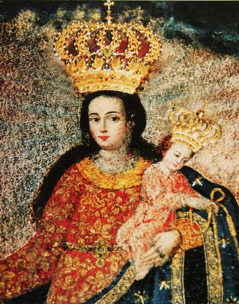 Crowns were attached later to this miraculous image in Colombia.