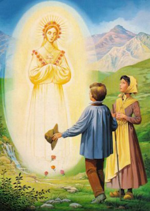 Coming from a ball of light, the Virgin greets the startled children.