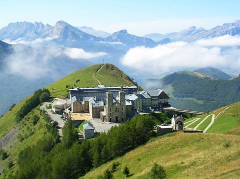 A basilica is built on the apparition site high in the French Alps.