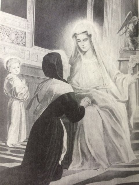 Catherine is stunned by the appearance and words of the Blessed Virgin.