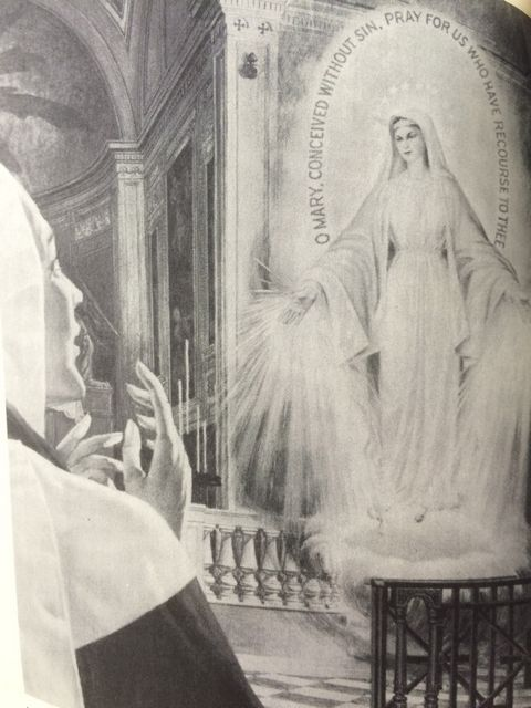 Rays of light stream from Mary's hands as graces are dispensed.