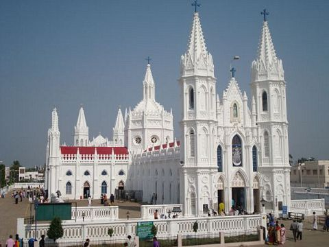 The beautiful Catholic basilica in Vailankanni, India.
