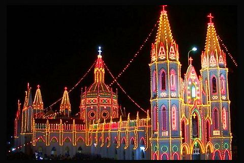 The festive lights of the Vailankanni grand church.
