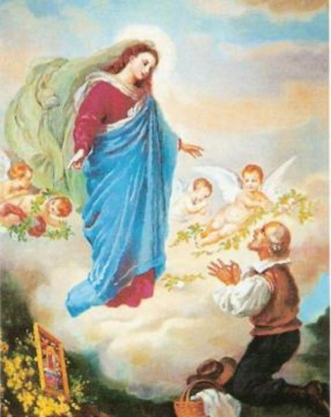 Virgin Mary leaves a painting with the visionary.