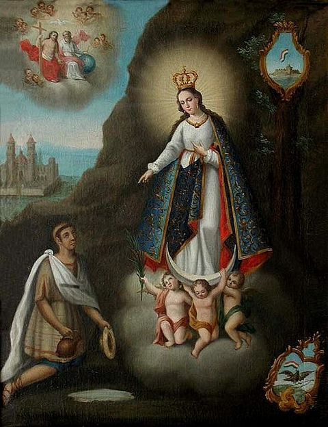 Juan Bernardino gets miraculous water from the Virgin