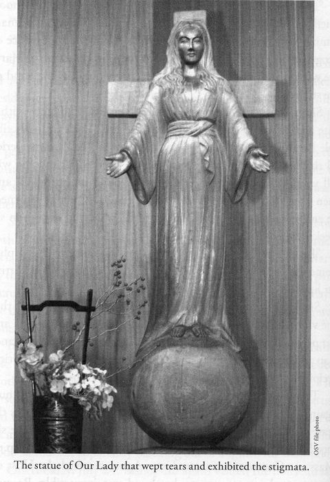The wooden statue in the prayer area that bled and cried