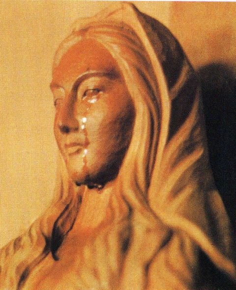 The wooden statue of Mary cried real human tears on 101 occasions