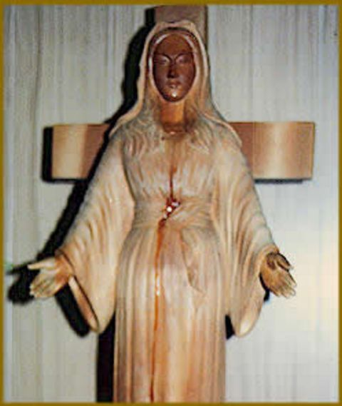 "The statue of the Virgin Mary also bled from a ""pierced heart."""
