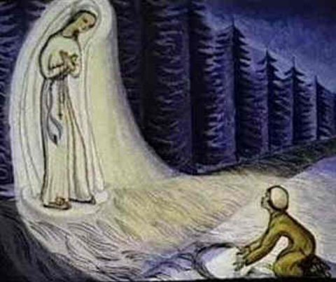 Blessed Mary leads Mariette to a stream that will heal others.