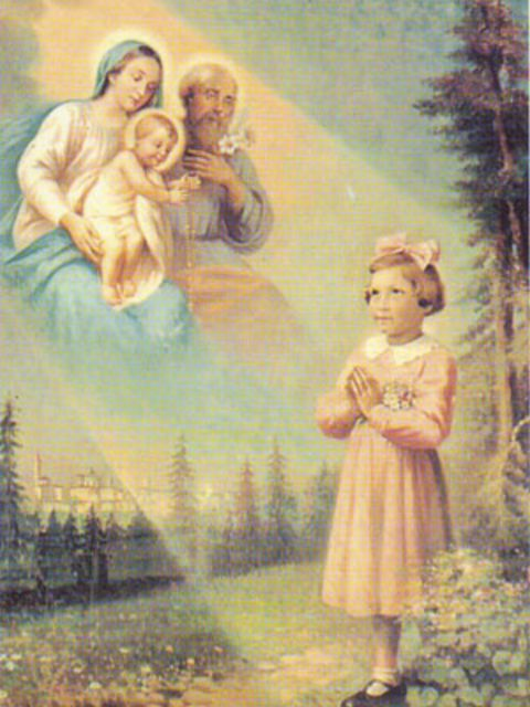 On May 13 she begins having visions of the Holy Family