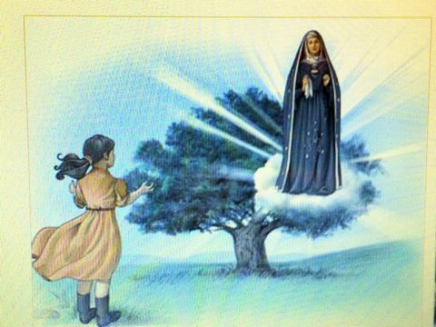 Young Marcelina spots the weeping Virgin Mary hovering near a chestnut tree.