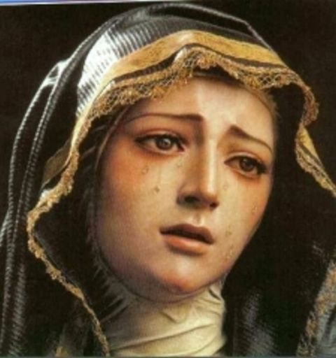 The great sadness of the Virgin Mary in La Codosera, Spain.