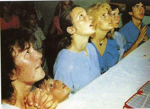 Vicka, Jakov, Ivanka, Mirjana, Marija, and Ivan in ecstasy.