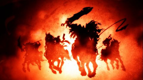 Fear scatters the 10,000 rebels as St. Michael charges at them.