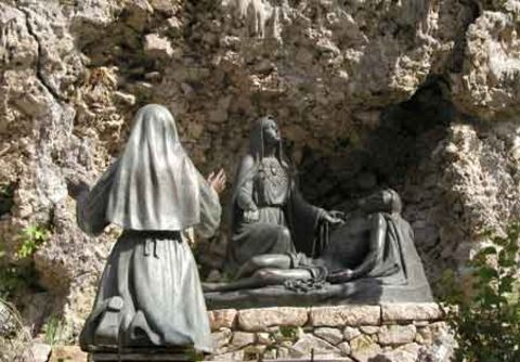 Statues mark the site of the apparitions in 1884 near Castelpetroso.