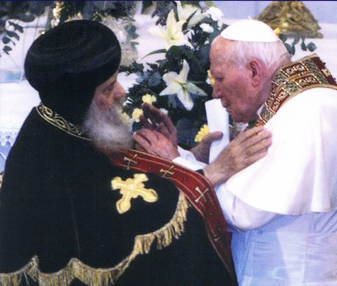 The Coptic pope welcomes Pope John Paul II in Zeitoun, Egypt.