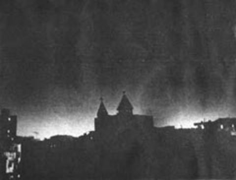 At night, supernatural lights surround the church in Shoubra
