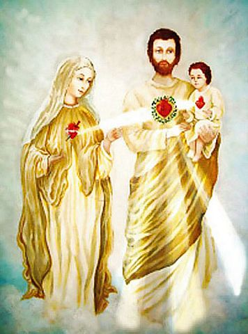 The three Sacred Hearts of Mary, Jesus, and Joseph