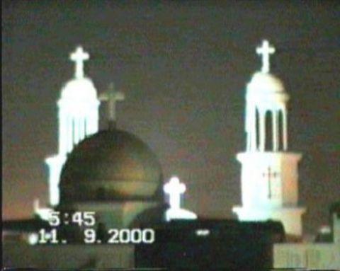 Strange lights illuminate certain parts of the church.