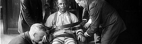 Dramatized scene in the electric chair