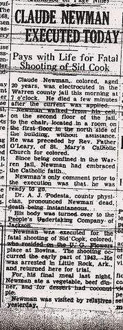 News article about Claude Newman's death