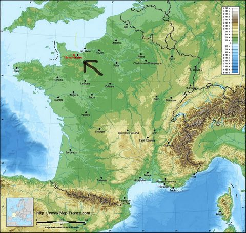 Picture #3: Location of Tilly-sur-Seulles in northern France