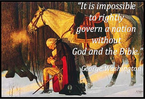 picture #1: George Washington takes time to pray to God