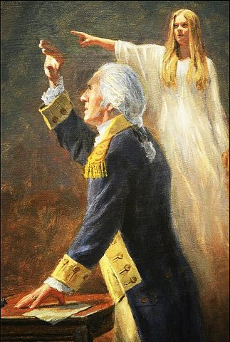 picture #3: The heavenly lady presents visions for George Washington