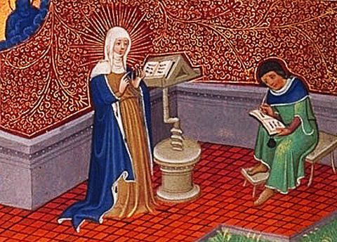 picture #9: St. Bridget teaches others from her writings