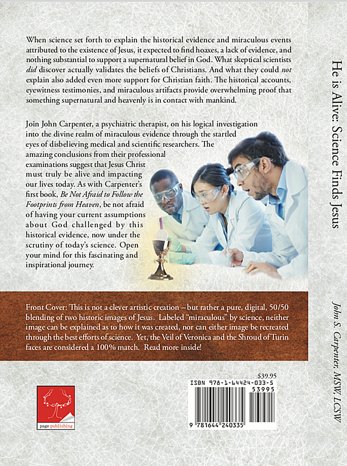 Back cover of the book 'He is Alive'